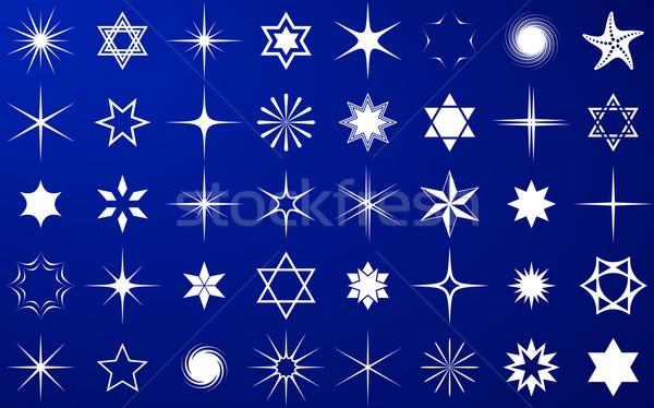 Vector sterren collectie witte geïsoleerd Blauw Stockfoto © blumer1979