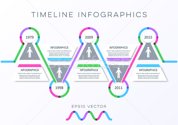 Modern idővonal infografika vektor design sablon skicc Stock fotó © blumer1979