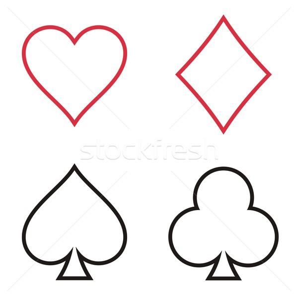 Jouer cartes cartes à jouer symboles ensemble Photo stock © blumer1979