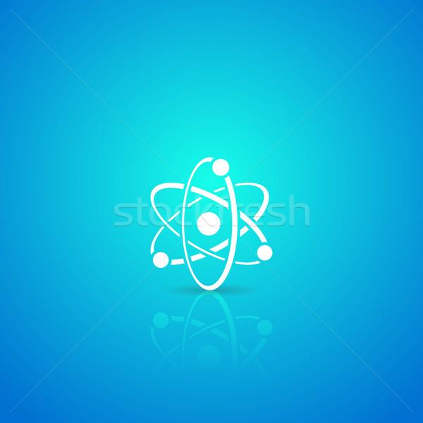 Atomo icona bianco vettore blu gradiente Foto d'archivio © blumer1979