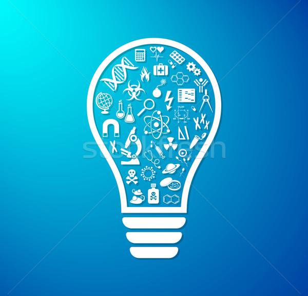 Photo stock: Ampoule · science · icônes · vecteur · icône · à · l'intérieur