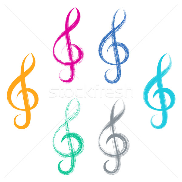 Treble clefs brush strokes design Stock photo © blumer1979