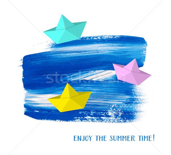 Cieszyć się lata czasu karty papieru łodzi Zdjęcia stock © blumer1979