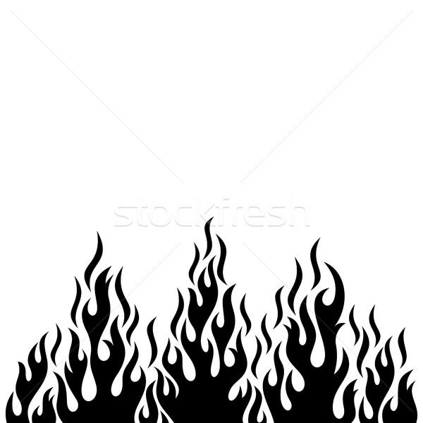 Photo stock: Noir · vecteur · feu · flamme · décoratif