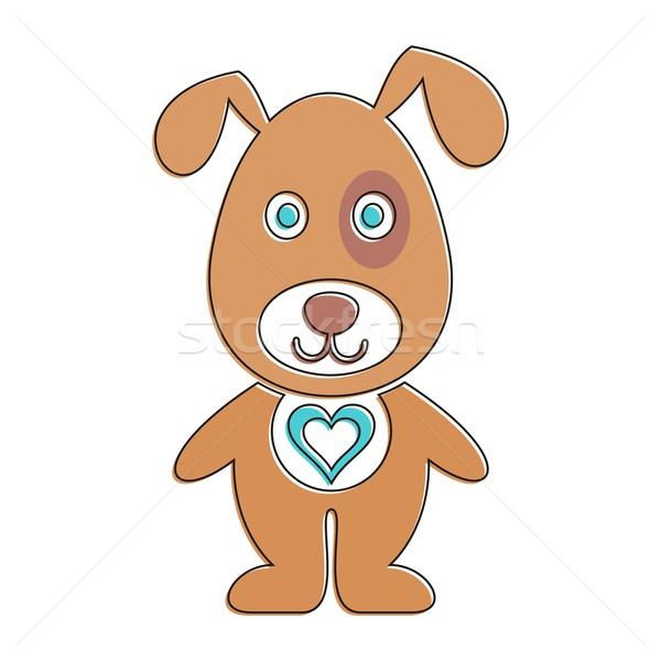 Cartoon собака Cute коричневая собака сердце белый Сток-фото © blumer1979