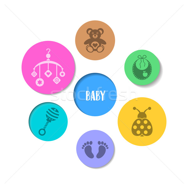 Foto stock: Colorido · projeto · bebê · ícones · bonitinho · círculos
