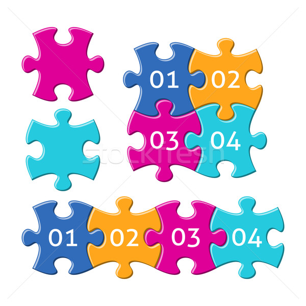 Jigsaw puzzle pieces with numbers Stock photo © blumer1979