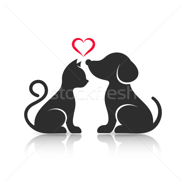 Cute cat and dog silhouettes Stock photo © blumer1979