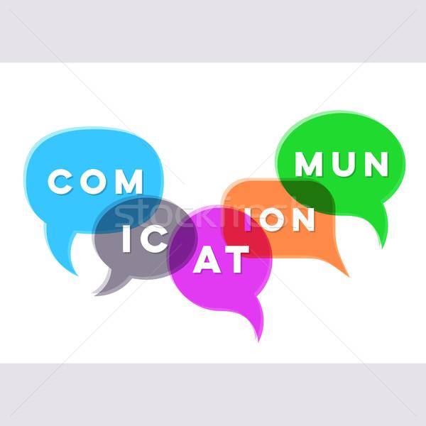 Vektor absztrakt kommunikáció szövegbuborékok üzlet felirat Stock fotó © blumer1979
