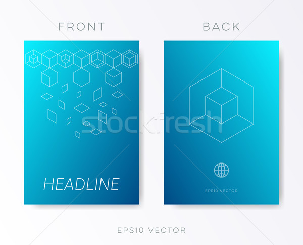 синий вектора брошюра дизайн шаблона современных Сток-фото © blumer1979