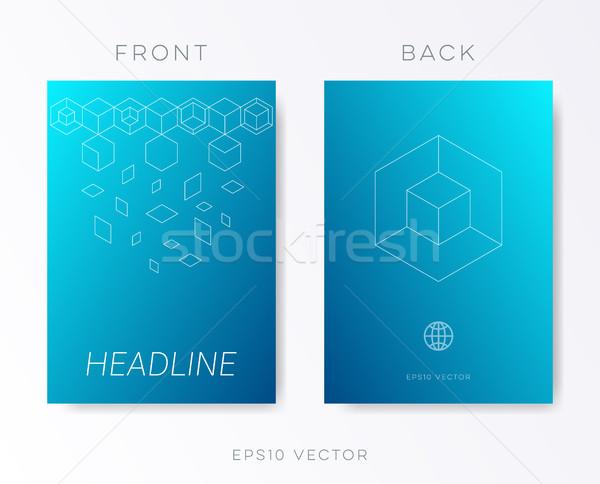 Azul vetor folheto modelo de design moderno Foto stock © blumer1979