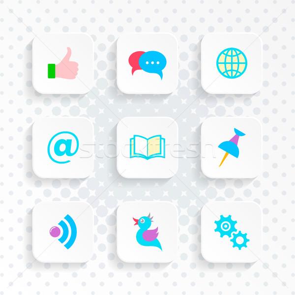 Vector white web social media buttons Stock photo © blumer1979