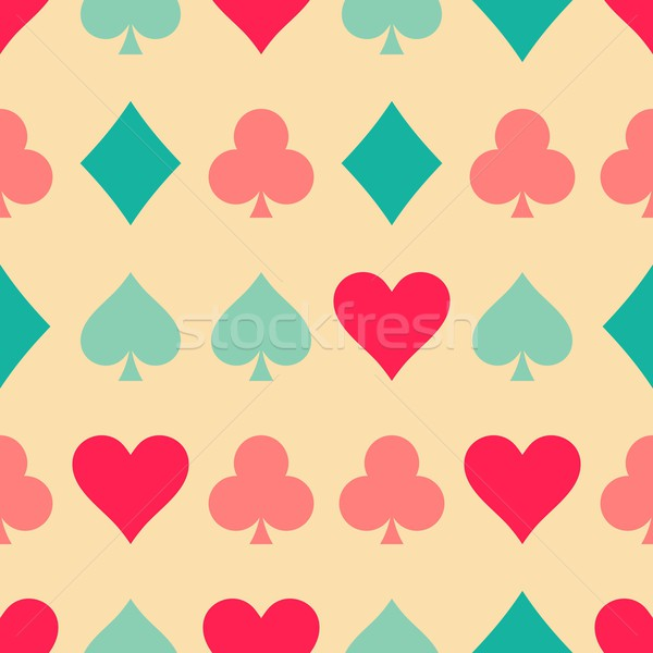 Cartas de jogar padrão sem costura retro colorido jogar Foto stock © blumer1979