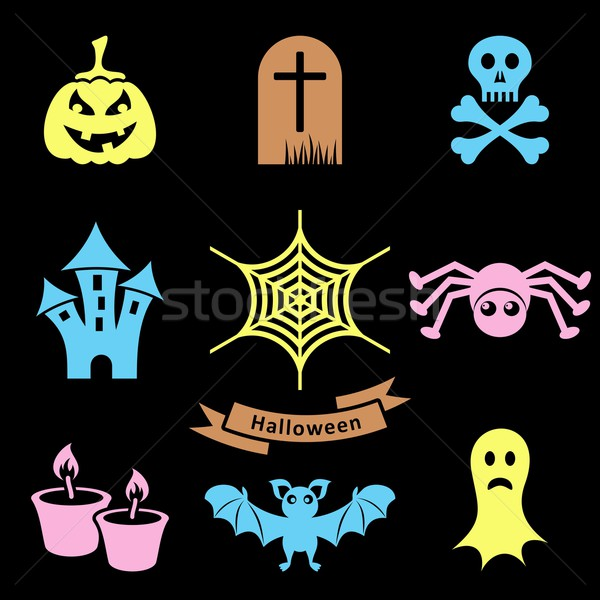 Stok fotoğraf: Halloween · simgeler · renkli · korkutucu · siluet · siyah