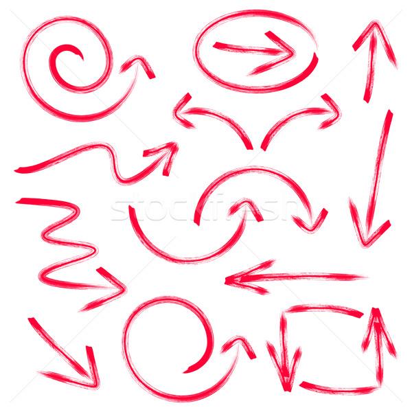 Rood vector pijlen collectie geïsoleerd Stockfoto © blumer1979