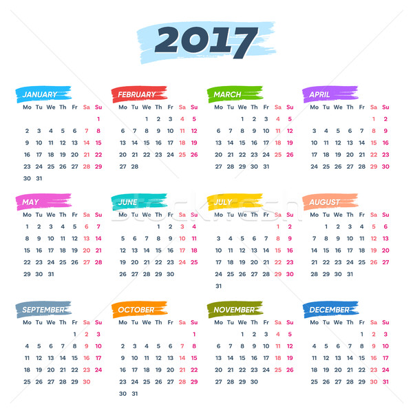 Calendar 2017 weeks start from monday Stock photo © blumer1979