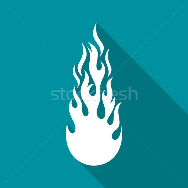 White vector fire flame flat icon Stock photo © blumer1979