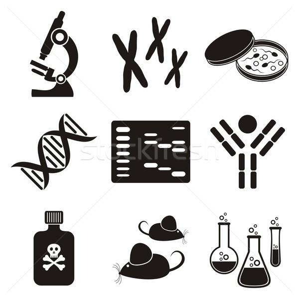 Biologie Wissenschaft schwarz weiß molekularen Symbole Stock foto © blumer1979