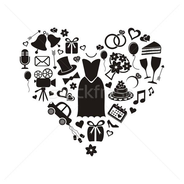 Mariage noir silhouette icônes à l'intérieur Photo stock © blumer1979