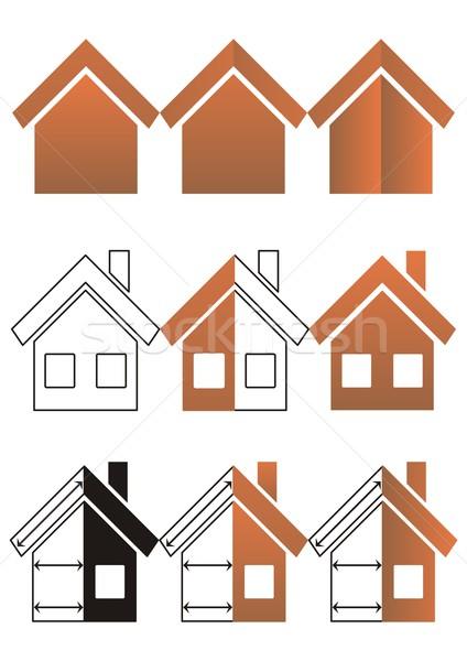 Maison construction immobilier neuf icônes Photo stock © blumer1979