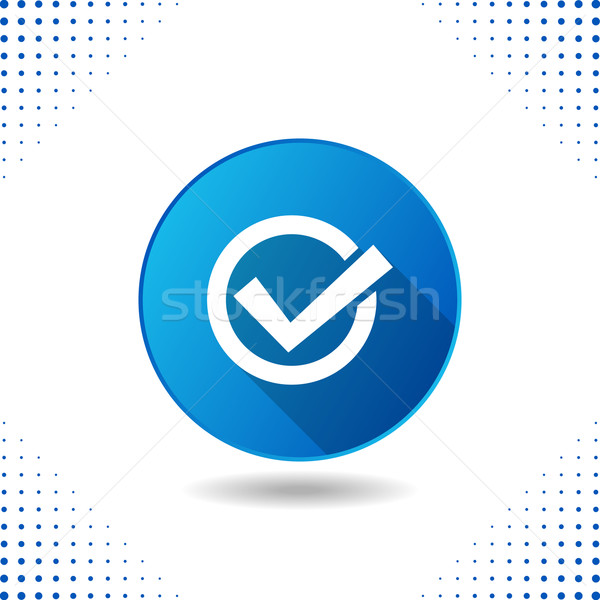 Tick icon on blue button Stock photo © blumer1979