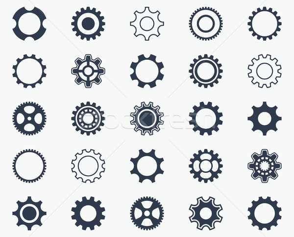 Collection of black gear wheel icons Stock photo © blumer1979