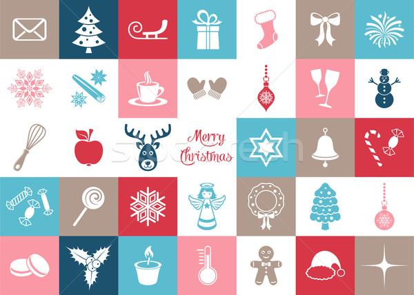 Foto stock: Colorido · vector · Navidad · silueta · iconos · grande