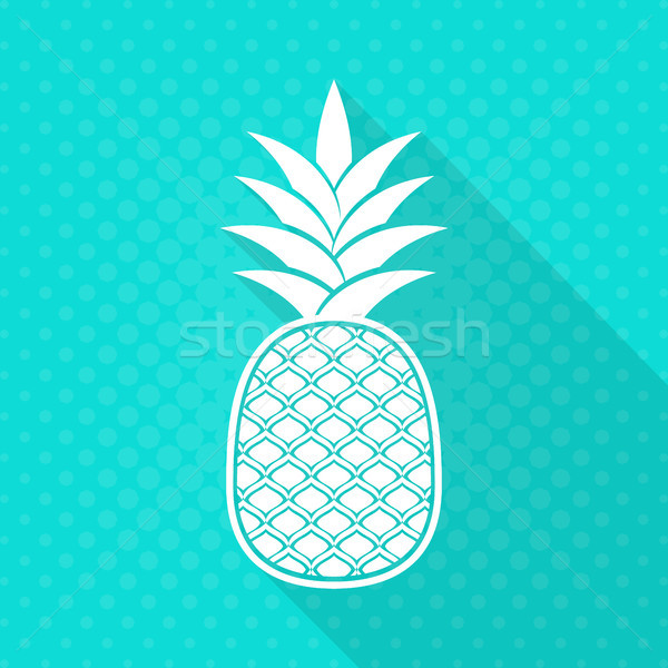 белый вектора ананаса икона бирюзовый полутоновой Сток-фото © blumer1979