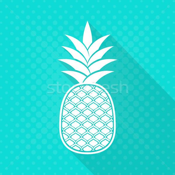 Fehér vektor ananász ikon türkiz halftone Stock fotó © blumer1979