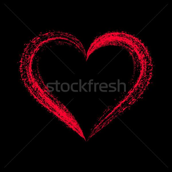 Kırmızı vektör stilize kalp siyah Stok fotoğraf © blumer1979