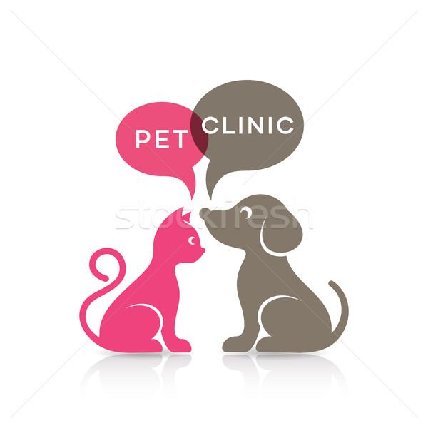 Coloré cute chat chien silhouettes animal Photo stock © blumer1979