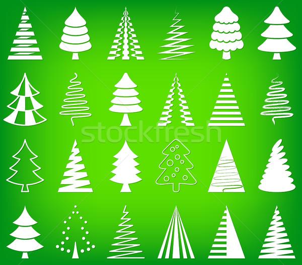 Photo stock: Résumé · arbre · de · noël · icônes · ensemble · blanche · vecteur