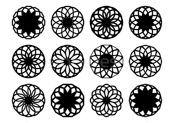 Mértani díszek fekete vektor szett izolált Stock fotó © blumer1979