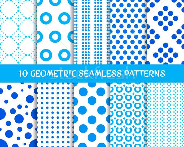вектора геометрический бесшовный точка структур синий Сток-фото © blumer1979