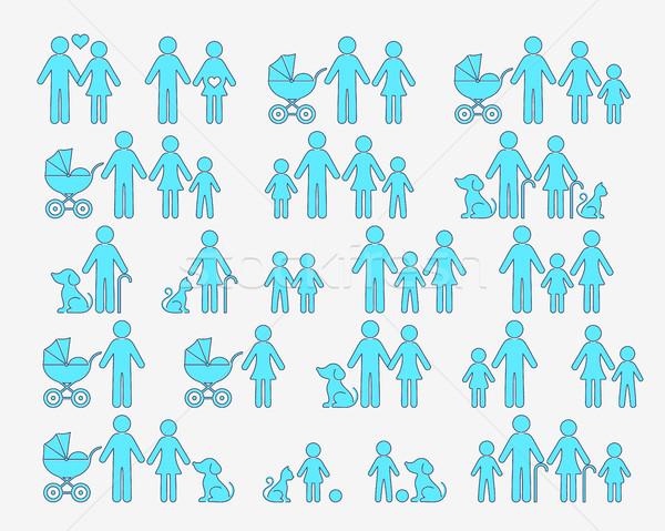 Vecteur famille pictogrammes icônes web icône web Photo stock © blumer1979