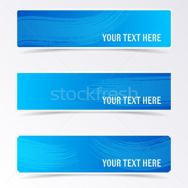 Blue vector banners with brush strokes Stock photo © blumer1979