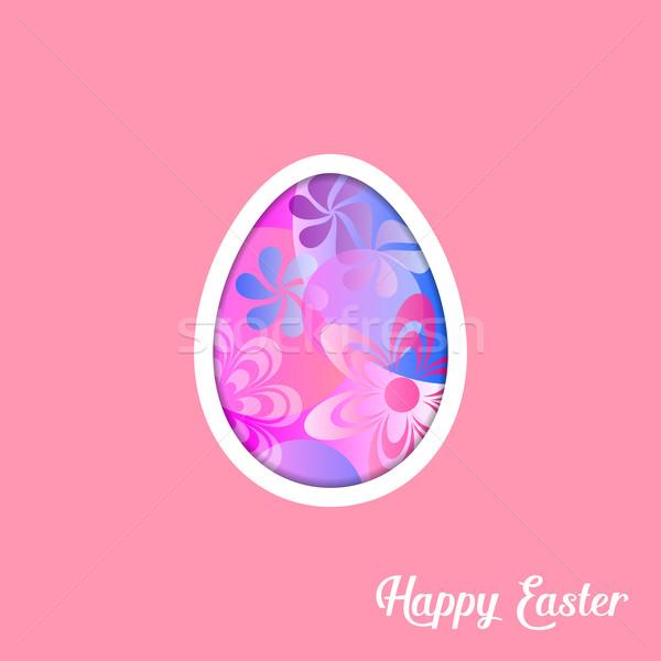 Páscoa cartão ovo rosa flor Foto stock © blumer1979