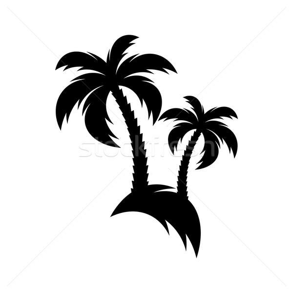 Negro vector palmera icono aislado blanco Foto stock © blumer1979