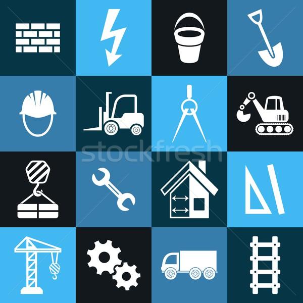 Construcción iconos blanco vector resumen azul Foto stock © blumer1979