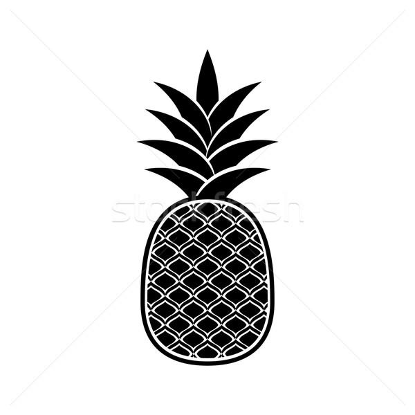Siyah vektör ananas ikon yalıtılmış beyaz Stok fotoğraf © blumer1979