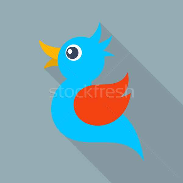 Vector blue bird icon long shadow Stock photo © blumer1979