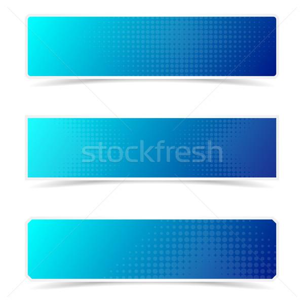 En demi-teinte Creative bannières bleu vecteur effet Photo stock © blumer1979