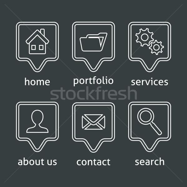 Stock fotó: Fehér · vektor · weboldal · menü · ikonok · szürke