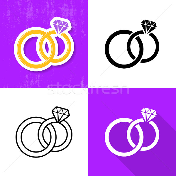 Various wedding rings icons collection Stock photo © blumer1979