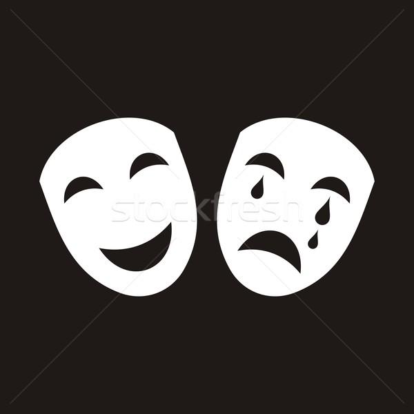 Színpadi maszkok kettő fehér boldog szomorú Stock fotó © blumer1979