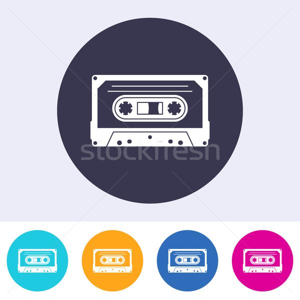 Wektora audio kaseta ikona kolorowy przyciski Zdjęcia stock © blumer1979