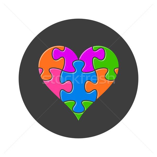 Színes szív kirakó darabok fekete gomb terv Stock fotó © blumer1979