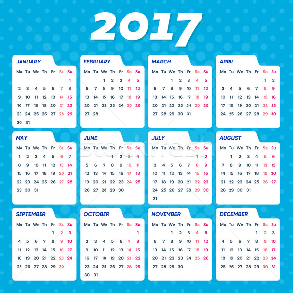 Blue vector 2017 calendar Stock photo © blumer1979