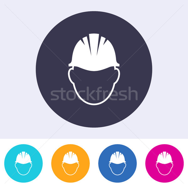 Vector abstract safety helmet sign icon Stock photo © blumer1979