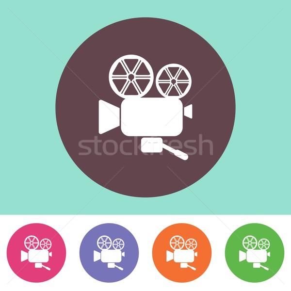 Foto stock: Câmera · de · filme · ícone · vetor · colorido · botões · televisão